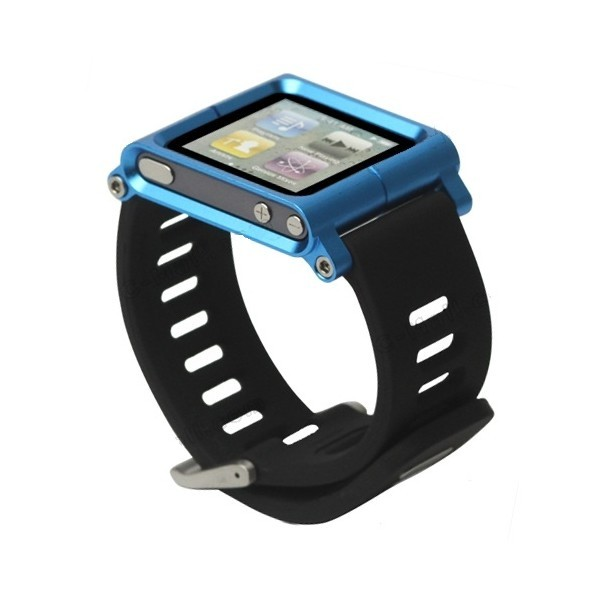 Bracelet montre aluminium ipod nano 6 bleu