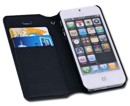 Housse similicuir porte cartes pour Iphone 5 (noire)
