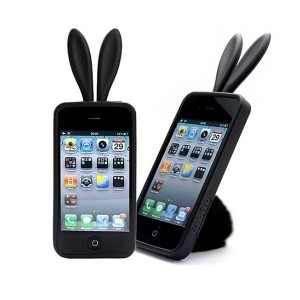 Housse de protection lapinou iphone 4 (noir)