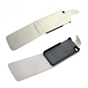Housse en simili cuir Iphone 4 (blanc)