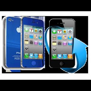 Remplacement écran + vitre arrière Iphone 4 (bleu chromé)
